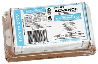 Philips Advance ICF2S26H1LDK SmartMate Programmed Start Replacement/Retrofit Ballast Kit. For 1 or 2-Lamp 26w CFL Quad & 1 or 2-Lamp 26-32w Triple Tube Compact Fluorescent 120/277v. Kit includes Ballast, Mounting Plate Adapter, Lead Wire and Wire Extraction Tool.