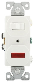 Cooper 277W-BOX Combination 1-Pole Switch and Pilot Light 15A 120V White