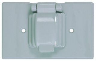 COOPER S1961 COVER 1G SINGLE RECEPTACLE NON-WET HORIZONTAL PLASTIC GY