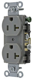 new P/&S CR20-GRY DUPLEX RECEPTACLE 20A//125V SIDE WIRE GRAY