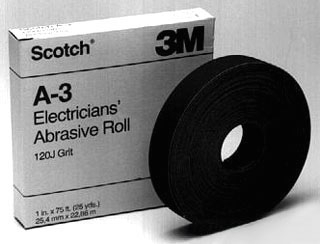 3-M A-3 Scotch Electricians Abrasive Roll A-3, 1 in x 25 yd, 120 J-weight,