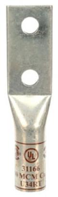 3-M 31166 Scotchlok Copper Two Hole Long Barrel Lug, up to 35 kV, 500 kcmil, Brown
