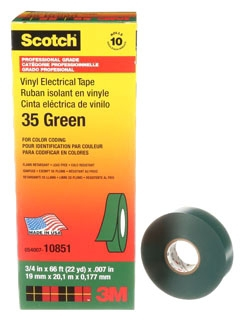 3-M 35-3/4X66FT-GN Vinyl Color Coding Tape, 3/4 in x 66 ft, Green,