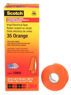 3-M 35-3/4X66FT-OR Vinyl Color Coding Tape 3/4 in x 66 ft, Orange,