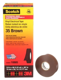 3-M 35-3/4X66FT-BR Vinyl Color Coding Tape, 3/4 in x 66 ft, Brown,