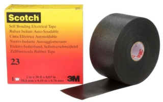 3-M 23-2X30FT Scotch Rubber Splicing Tape 23, 2 in x 30 ft, Black,