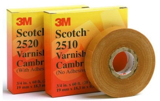 "3-M 2510-3/4X60FT Scotch Varnished Cambric Tape, 3/4"" x 60 ft, Yellow,"