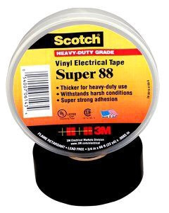3-M 88-3/4X66FT Scotch Vinyl Electrical Tape Super 88, 3/4 in x 66 ft, Black,
