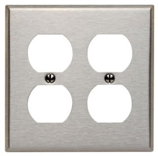LEVITON 84016 : 2 GANG STAINLESS STEEL DUPLEX RECEPTACLE PLATE
