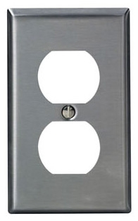 LEVITON 84003 : 1 GANG STAINLESS STEEL DUPLEX RECEPTACLE PLATE