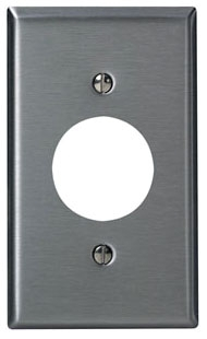 LEVITON 84004-40 : 1 GANG STAINLESS STEEL SINGLE RECEPTACLE PLATE