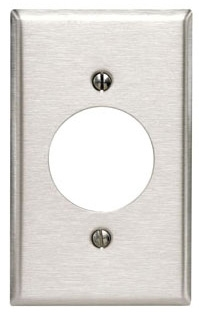 LEVITON 84028 1 GANG STAINLESS STEEL PLATE FOR RECEPTACLE 2.109