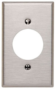 LEVITON 84020-40 : 1 GANG STAINLESS STEEL PLATE F/RECEPTACLE1.562
