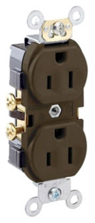 LEVITON CR15 : BROWN DUPLEX RECEPTACLE NEMA5-15R