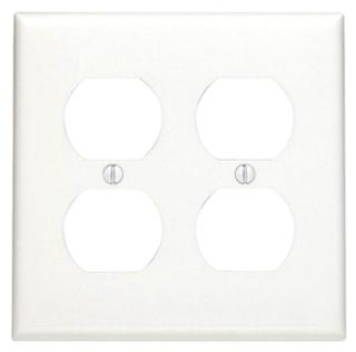 LEVITON 80716-W : WHITE NYL 2 GANG DUPLEX PLATE