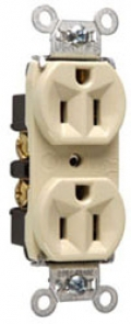 P&S 5262-I : DUPLEX RECEPTACLE 15A 125V SIDE & BACK WIRE IVORY