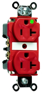 P&S 8300-RED : HOSPITAL GRADE DUPLEX RECEPTACLE 20A/125VAC RED