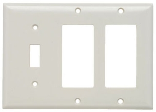P&S SP1262-W COMBINATION WALL PLATE, 1 TOGGLE SWITCH AND, 2 DECORA, THREE GANG, WHITE