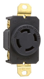 P&S L1530-R : TURNLOK SINGLE RECEPTACLE 4WIRE 30A 3P 250V