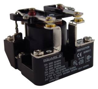 SQUARE D 8501CO7V24 : RELAY 600VAC 5AMP TYPE C +OPTIONS
