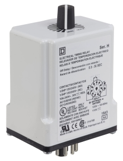 SQUARE D 9050JCK23V20 : TIMER RELAY 240VAC 10AMP +OPTIONS