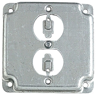 STEEL-CITY RS12 4-IN SQUARE SURFACE COVER 5CU 1-DUPLEX 1/2 RAISED