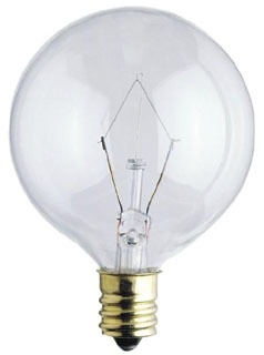 WESTINGHOUSE 03612 0361200 40W G16 1/2 Incandescent Clear E12 (Candelabra) Base, 130 Volt, Box